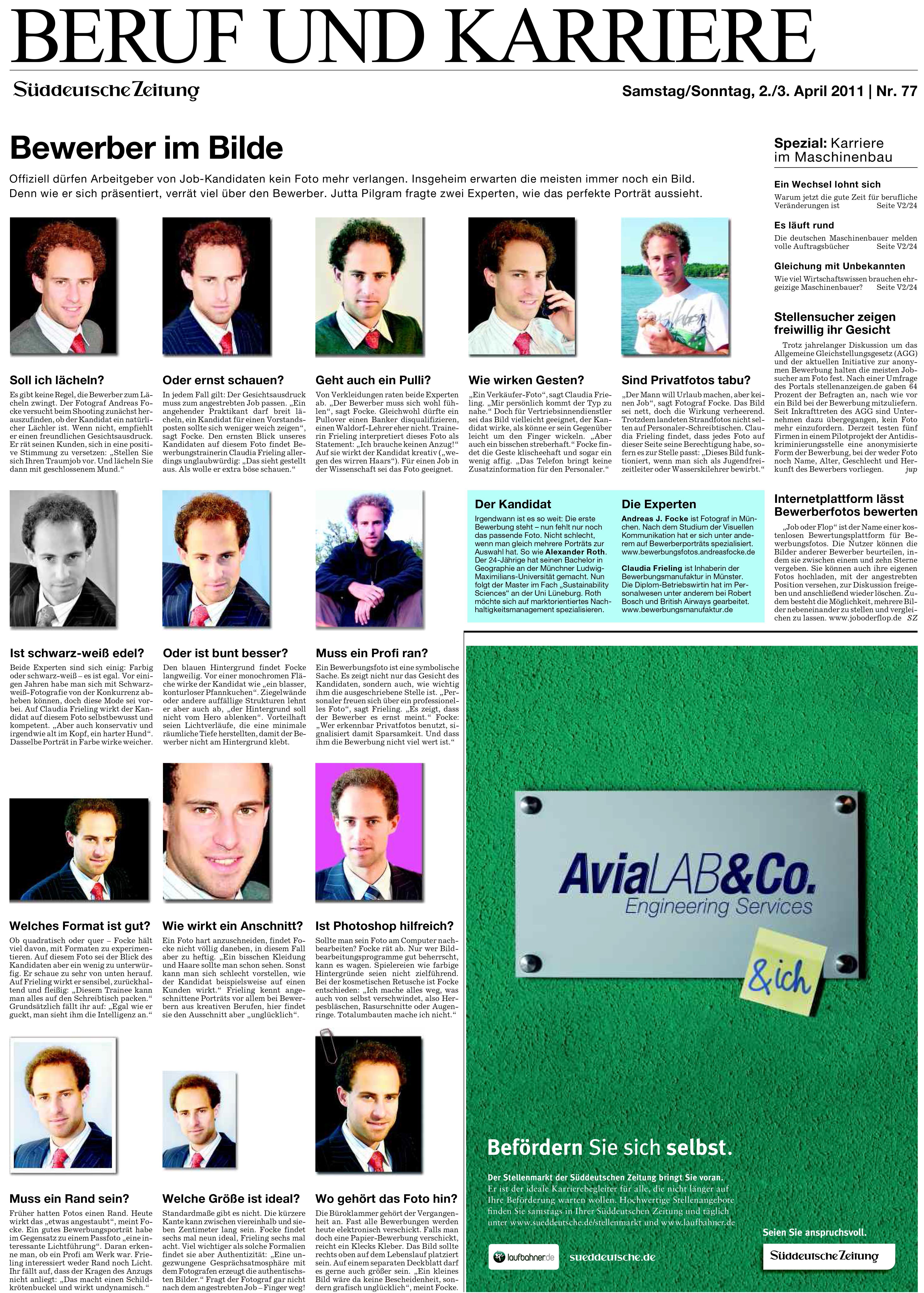 """Artikel in der Süddeutschen Zeitung, in dem zwei Experten zum Thema """"Bewerbungsfotos"""" befragt werden."""