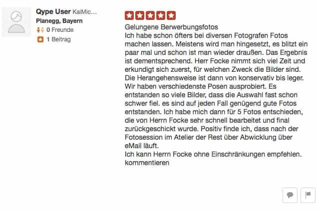 Bewertung eines zufriedenen Kunden auf der Bewertungsplattform Yelp